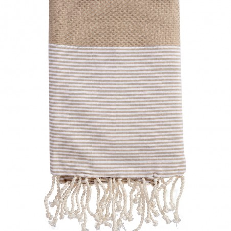 FOUTA NID D'ABEILLE RAYE PERSONNALISABLE - BEIGE