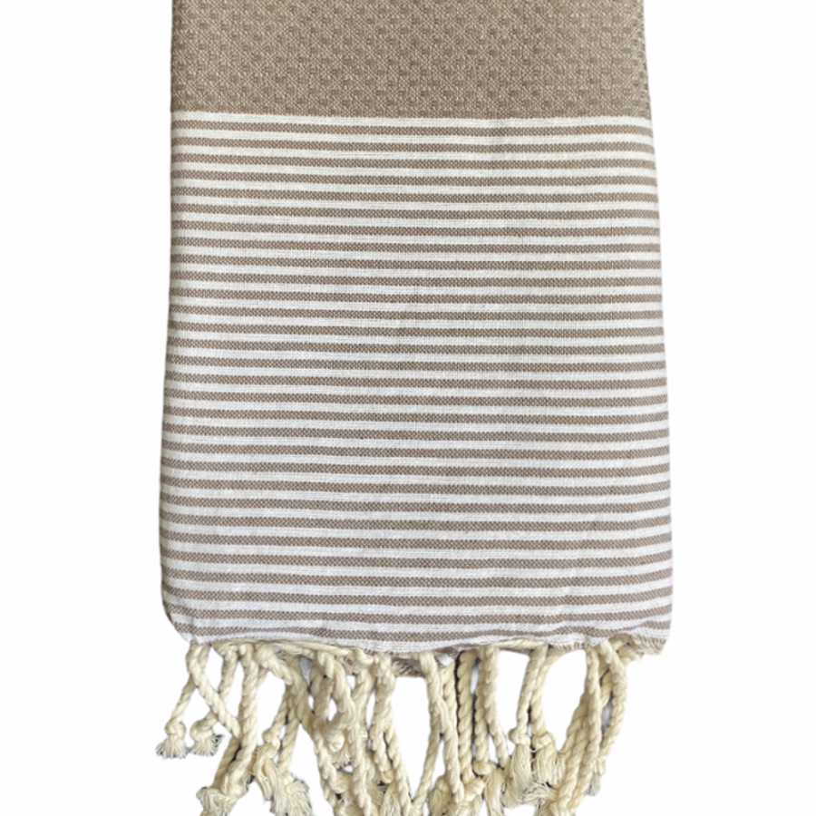 fouta-nid-abeille-taupe-personnalisee