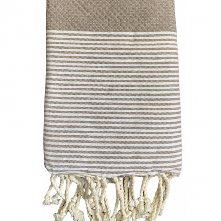 FOUTA NID D'ABEILLE RAYE PERSONNALISABLE - TAUPE