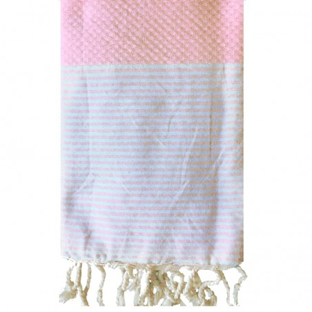 FOUTA NID D'ABEILLE RAYE PERSONNALISABLE - ROSE PALE