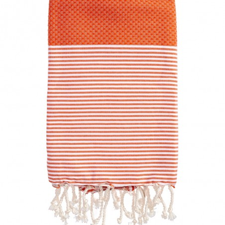FOUTA NID D'ABEILLE RAYE PERSONNALISABLE - ORANGE