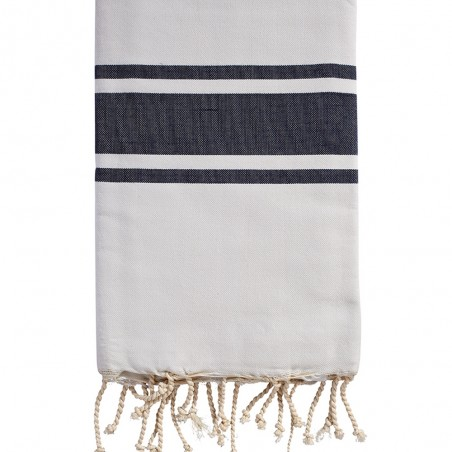 FOUTA PLATE BICOLORE PERSONNALISABLE - ROSE PALE/MARINE