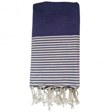 FOUTA NID D'ABEILLE RAYE PERSONNALISABLE - VIOLET