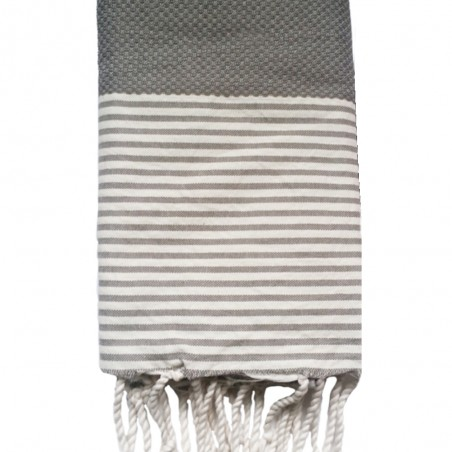 FOUTA NID D'ABEILLE RAYE PERSONNALISABLE - GRIS