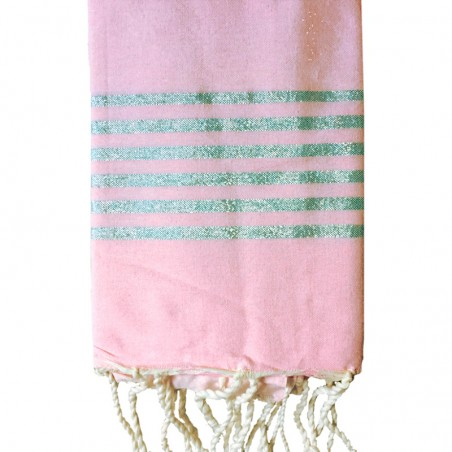 FOUTA LUREX PERSONNALISABLE - ROSE PALE