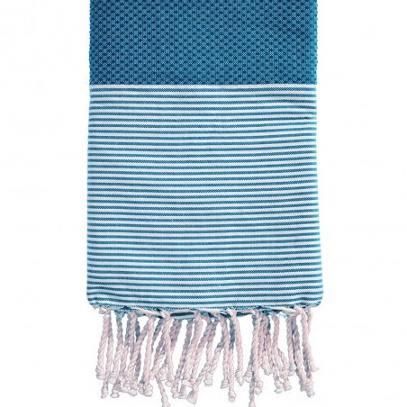 FOUTA NID D'ABEILLE RAYE PERSONNALISABLE - TURQUOISE