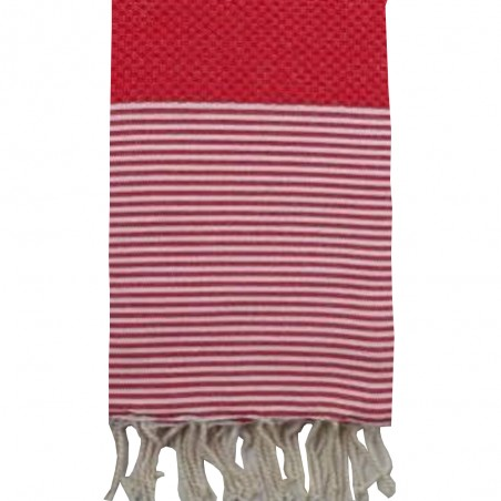 FOUTA NID D'ABEILLE RAYE PERSONNALISABLE - ROUGE
