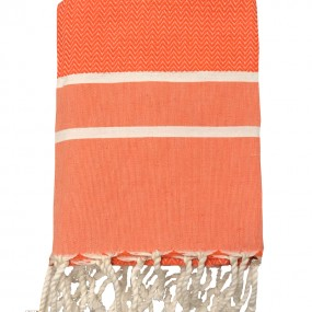 fouta chevron-orange-personnalisable